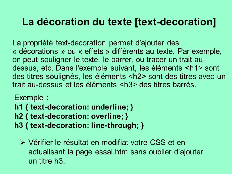 Le css un compl ment au html ppt t l charger for A hover text decoration